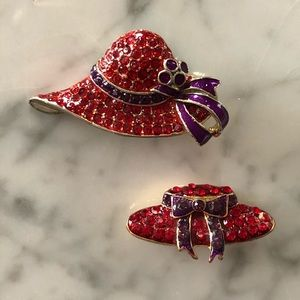 🔥 Set of 2 Vintage Rhinestone Hat Brooches